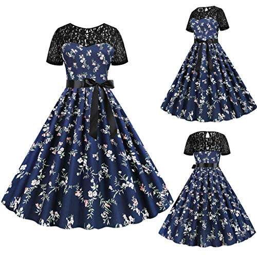 Damen Retro A Line Rockabilly Tee Kleid Damen Sommer Spitze Patchwork Kurzarm 50er 60er Vintage Party Swing Cocktail Kleid mit Schärpen Gr. M, Blau H