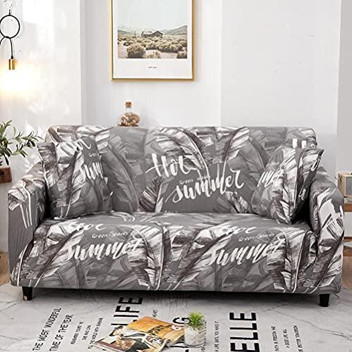Funda Sofas 2 y 3 Plazas Hojas Grises Fundas para Sofa Universal,Cubre Sofa Ajustables,Fundas Sofa Elasticas,Funda de Sofa Chaise Longue,Protector Cubierta para Sofá