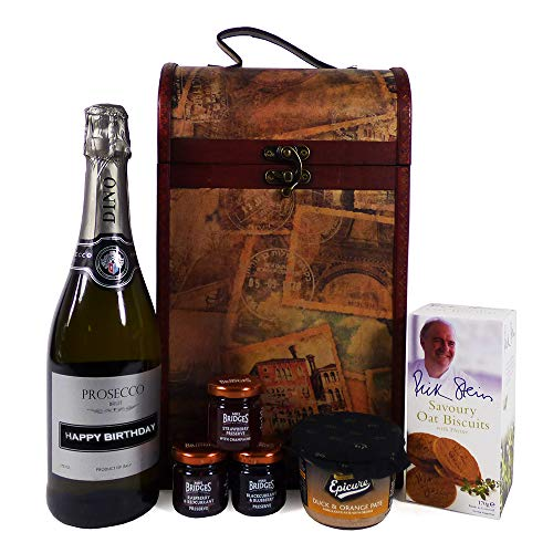 75cl Prosecco and Delicious Delights Food Hamper in a Vintage Style Keepsake Wine Chest with Personalised Happy Birthday - Gift Ideas for Him, Her, Mum, Dad, 18th, 21st, 30th, 40th, 50th, 60th, 70th