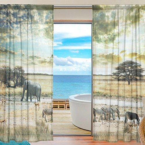 FFY Go Sheer Voile Fenster Vorhang Afrika Tiere Bedrucktes Weiches Material Für Schlafzimmer Wohnzimmer Küche Decor Home Tür Dekoration 2 Felder 198,1 X 139,7 cm
