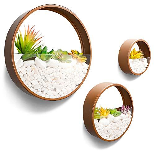 JonesHouseDeco 3 macetas redondas de metal para pared, color marrón, redondas, para decoración de interiores, para sala de estar, cocina