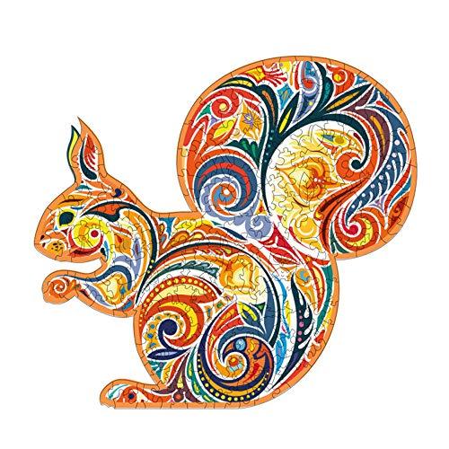 Puzzles en Bois 232 Pièces Puzzles 3D Ecureuil Mystérieux Pièces de Puzzle de Forme Unique Puzzle Animal Cadeau pour Enfant Adulte Famille Loisir Collection Décor Maison (Ecureuil, 30,4 x 28 cm)