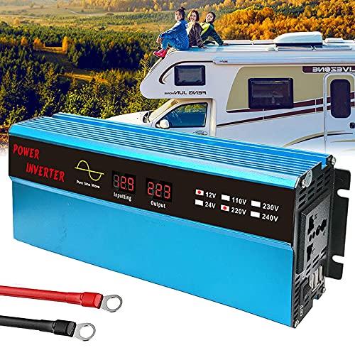 FHISD Inversor de Corriente Pure Sine Wave-1000W 12V / 24V DC a 110V / 220V AC Inversor convertidor para automóvil con Salidas de Pantalla LCD y Puerto USB-Adaptador
