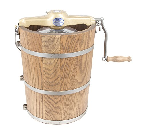 6 qt Country Ice Cream Maker - Classic Wooden Tub - Hand Crank