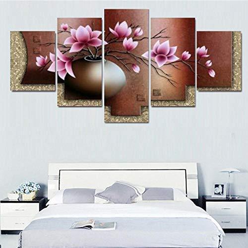 5 Stücke Leinwand Malerei Vintage Hd Blume Magnolien Vase Bild Druckplakat Gerahmte Wandkunst 40X60X2 40X80X2 40X100 Cm