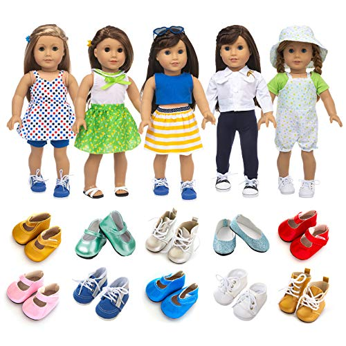 XFEYUE American 18 Inch Girl Doll Clothes and Accessories 5 Sets Doll Clothes Dress Outfits + 2 Random Style Shoes for 18 Inch Doll Clothes