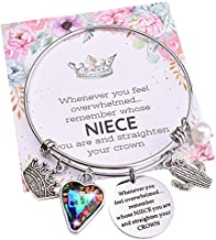 Niece Bracelets Gifts from Auntie Aunt Straighten Your Crown Birthday Gift for Niece Charm Bangle to My Niece Graduation Memorial Jewlery for Teen Girls