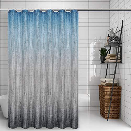 Linnovo Duschvorhang aus strukturiertem Stoff, Ombre Duschvorhänge für Badezimmer mit 12 Haken, 178 x 182,9 cm, blaugrauer Farbverlauf