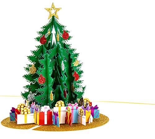 LIMAH® Pop-Up 3D Premium Grußkarte/Hochwertige Weihnachtskarte/X-Mas Karte zu Weihnachten/Weihnachtsbaum mit Geschenken Motiv/in Weiss Gold/Groß mit Glitzer
