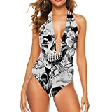 Hoveniacis Seamless Pattern with A and Flowers Cher Bikini Women One Piece Swimsuit L