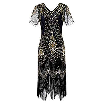 FAYBOX Women 1920s Flapper Dress Vintage - Sequin Fringed Gatsby Dresses Art Decor with Sleeves for Roaring 20s Party