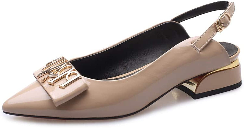 Nio Nio Nio Seven Woherrar Genuine läder Closed Pointed Toe Slingback Handgjord bekväm, lite Chunky Heel Pump skor  noll vinst