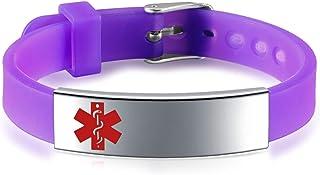 دستبند شناسه پزشکی JF.JEWELRY / دستیار آلرژی برای کودکان باند سیلیکون و برچسب استیل ضد آویز حک شده