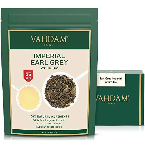 VAHDAM, Earl Grey Imperial Weißer Tee Loose Leaf (25 Tassen) | GESUNDHEITLICHER TEE, 100% NATÜRLICHE weiße Teeblätter | LEISTUNGSFÄHIGE ANTI-OXIDANTEN | Loose Leaf Earl Grey Tea | 50gr