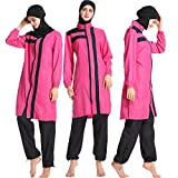 Mr Lin123 Women Muslim Modest Swimwear Hijab Swimming UPF 50+ Islamic Swimsuits Swimwear (L, Rose)