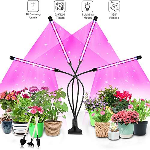 Niello® Pflanzenlampe LED,Pflanzenlicht, 40W Pflanzenleuchte, 4 Heads 80 LEDs Wachsen licht, Vollspektrum Wachstumslampe für Zimmerpflanzen mit Zeitschaltuhr, 3 Beleuchtungsmodi, 10 Helligkeitsstufen