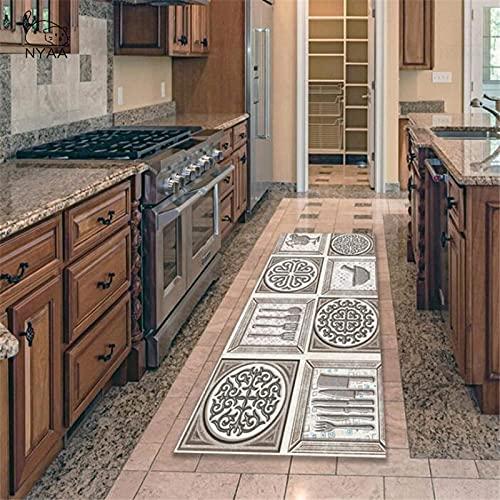 OPLJ Alfombrillas geométricas Retro alfombras de Cocina vajilla celosía Alfombrillas Antideslizantes alfombras de Cocina alfombras de Pasillo de Sala de Estar A1 60x180cm