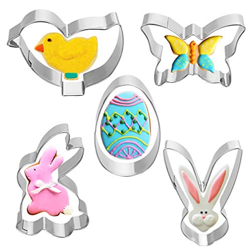 VHAUSE 5pcs Animal Themed Mini Cookie Cutter Set - Stainless Steel Non-stick Cute Animal Biscuit Molds with Egg Rabbit Chick Butterfly Shapes for Kids Adults Home Baking