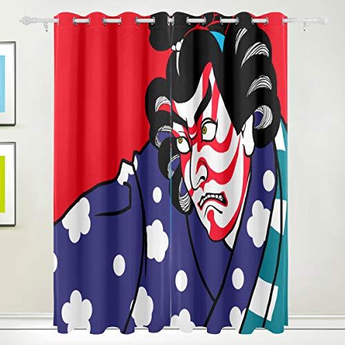 MOBEITI Vorhänge Blickdicht Lichtundurchlässig Verdunkelungsvorhänge,Japanische Retrospektive Kabuki Art,Wärmeisolierung für Schlafzimmer Wohnzimmer,W117*L138cm 2er Set