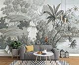 Fotomural 3D Dibujado A Mano Selva Tropical Plátano Palmera Nostalgia Retro Tv Fondo Papel Pintado Pintura De Pared