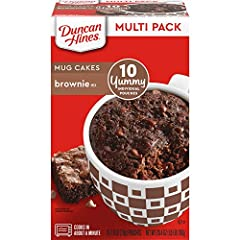 Ten 2.6 oz pouches of Duncan Hines Mug Cakes Brownie Mix Offers a convenient single-serving dessert Decadent chocolate batter cooks into a moist, warm mug brownie Individual serving for solo indulgences and mini celebrations Microwave the mug dessert...