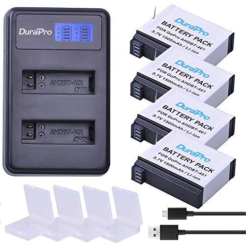 DuraPro Akkus AHDBT-401 1500mAh + LCD Dual USB Ladegerät für Gopro 4 Akku Gopro Hero 4 Kameras