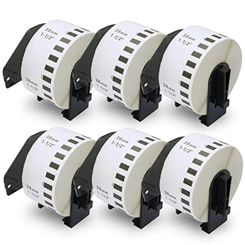 BETCKEY Etiketten kompatibel mit Brother DK-22225 38mm x 30,48m 6 set, Endlose Papier Etiketten für Brother: QL1050 QL1060N QL500 QL550 QL560 QL570 QL600 QL700 QL710W QL720NW QL-1100