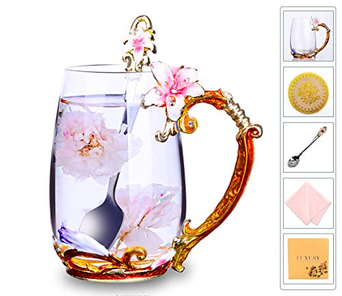 Flower Tea Cups, Unique Coffee Mugs, Glass Mug with Spoon Set, Handmade Lily Mother's Day Gifts - Newlyweds Christmas New Year Anniversaries Parents Weddings Engagements Couples Gifts (13oz, Pink)