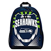 """NFL team branded logo and shiny PVC with shiny, metallic accents Two main zippered compartments; dual side mesh pockets; adjustable paddes shoulder straps and mesh back panel Measures 16.5""""H x 5.5""""D x 12""""W Spot clean only. Props not included Made of ..."""