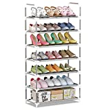 IBEQUEM 7 Tiers Shoe Rack Organizer, Non-Woven Fabric Stackable & Adjustable Shoe Tower Storage Shelf, Space Saving Metal Shoes Cabinet Holder