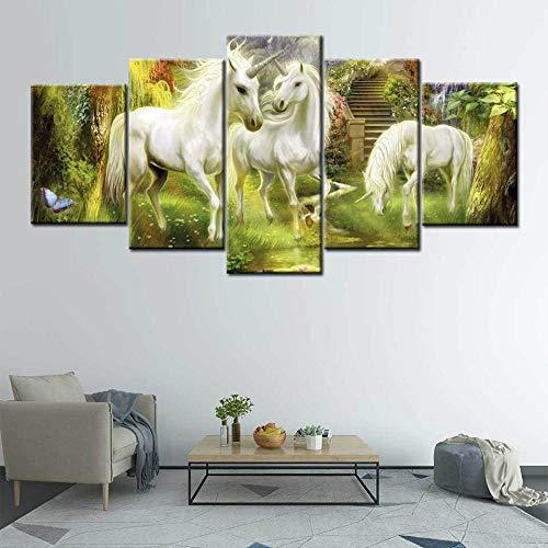 Lucellgh Cuadro En Lienzo 5 Partes Unicornio Poster Arte De La Pared Imagen Cuadros En Lienzo Pintura 5 Paneles Moderno para Niños Habitación Decoración para El Hogar 200Cmx100Cm