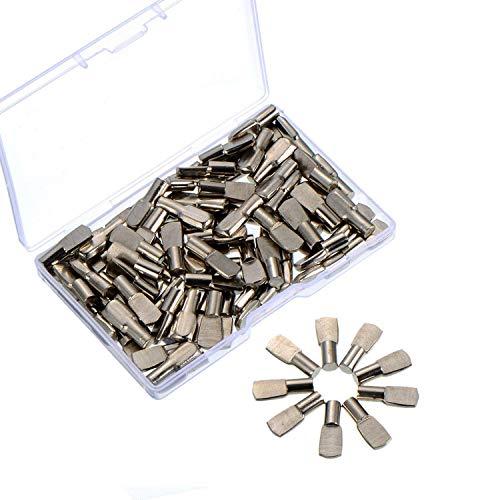 5 mm Regal Stützstifte Bodenträgerstifte Regalbodenstifte mit Aufbewahrungskisten, Flache Löffelart, Silber, 100 Stück