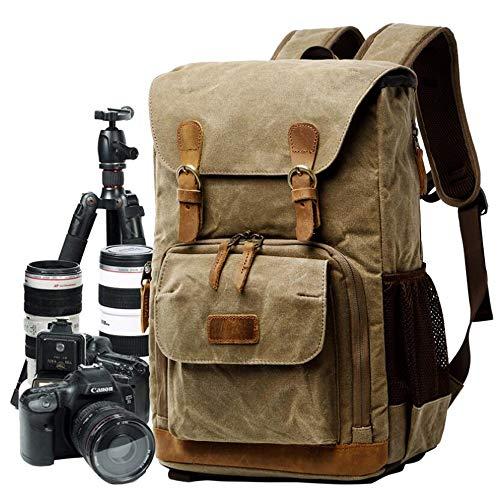 Cameratas van zeildoek, professionele schokbestendige camera rugzak met echt lederen applicaties voor DSLR & accessoires