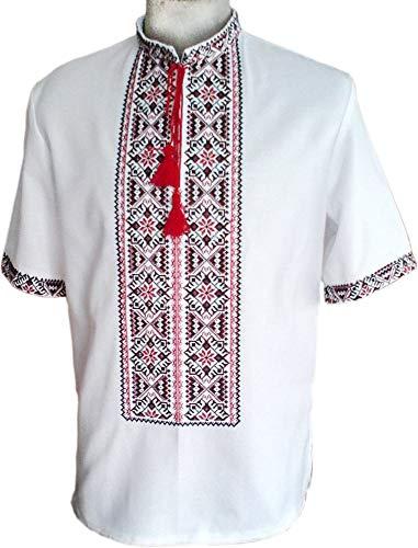 Ikrainisches Hemd, bestickt, halbe Ärmel, Sorochka für Herren, Ethno-Stil, traditionell Patriotisch -  Weiß -  Klein