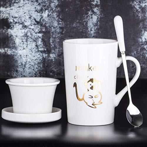 QTCXK Tasse, Tasse en céramique Zodiac de Bande dessinée créative 12, personnalité européenne exquise de la Mode Luxueuse et légère avec Une Fuite de thé avec Couvercle cuillère Une Tasse de café