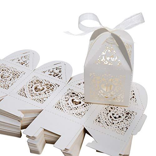 Caja de regalo, SenPuSi 50 Caja de regalo, dulces de boda, dulces, chocolate, confeti, decoración para bodas,bodas, banquetes, bodas (Beige)