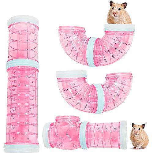 zfdg Der Tunnel Hamster, Hamster Röhren Set, Tunnel Zubehör Hamster Käfig, Hamster Cage Tubes Tunnel, für Hamsterkäfig Kleine Haustier Rohrverbindung Sport Tunnel Spielzeug (Rosa)