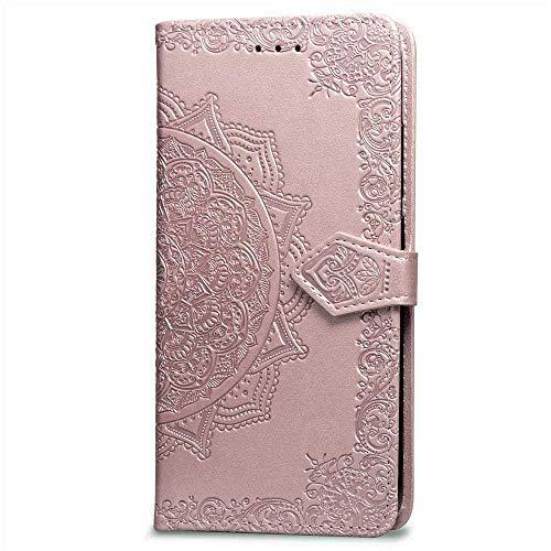 Bravoday Hülle für Samsung Galaxy S6, PU Leder Flip Handyhülle Schutzhülle Case für Galaxy S6 mit Kartenfach, Standfunktion, Magnetverschluss, Roségold