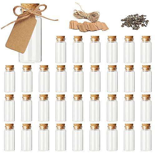 Achruor 56 mini botellas de cristal de 10 ml, pequeñas botellas vacías con tapón de corcho, 56 etiquetas colgantes, 56 tornillos con ojal y cordel para decoración DIY