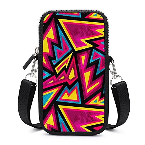 Bolso bandolera con correa extraíble para el hombro con geometrías de colores anticaída funda para llave de la cintura cartera de yoga bolsos unisex