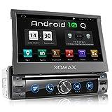 XOMAX XM-DA759 Autoradio mit Android 10, QuadCore, 2GB RAM, 32GB ROM, GPS Navigation, DVD, CD I Support: WiFi WLAN, 3G 4G, DAB+, OBD2 I Bluetooth, 7 Zoll / 18 cm Touchscreen, USB, SD, AUX, 1 DIN