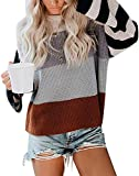 ZESICA Women's Long Sleeve Crew Neck Striped Color Block Casual Loose Knitted Pullover Sweater Tops Grey