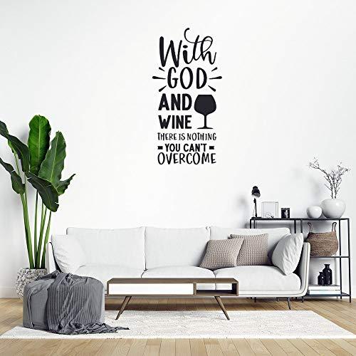 Calcomanías de pared con texto en inglés 'With God and Wine There is Nothing You Can't Overcome Quotes de PVC decorativo para ventanas y habitaciones