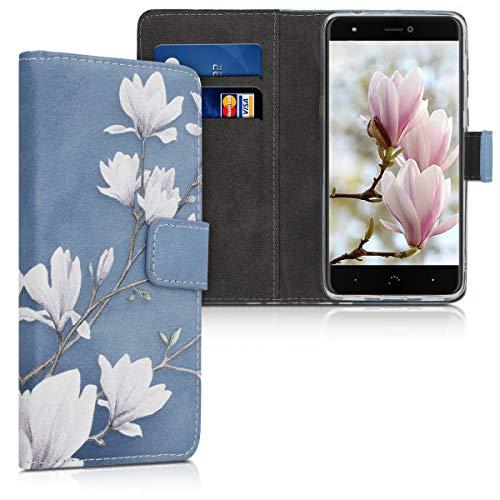 kwmobile Wallet Hülle kompatibel mit bq Aquaris X/X Pro - Hülle mit Ständer Kartenfächer Magnolien Taupe Weiß Blaugrau