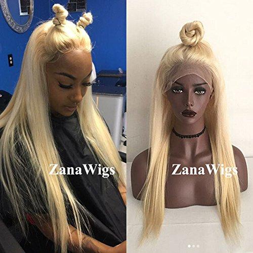 ZanaWigs Peluca de pelo sintético largo, recto y rubio #613, de encaje, para hombre o mujer, atada a mano
