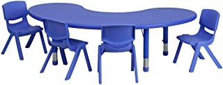 Flash Furniture 35''W x 65''L Half-Moon Blue Plastic Height Adjustable Activity Table Set with 4 Chairs