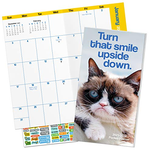 Grumpy Cat Calendar 2021 Bundle - Deluxe 2021 Grumpy Cat Pocket Planner Calendar with Over 100 Calendar Stickers (Grumpy Cat Gifts, Office Supplies)