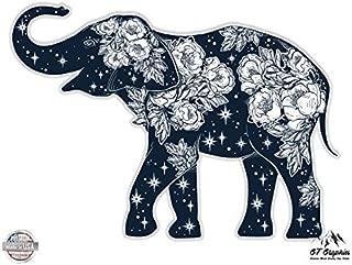 GT Graphics Elephant Beautiful Floral Celestial Design - Vinyl Sticker Waterproof Decal