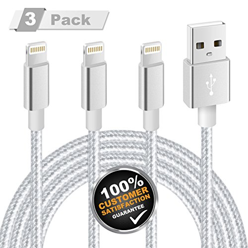 iPhone Charger, MFi Certified Lightning Cable 3 Pack 10FT Extra Long Nylon Braided USB Charging & Syncing Cord Compatible with iPhone 11/11Pro/XS Max/XR/X/8/8 Plus/7/7Plus/6S/6/iPad/Nano(Silver Gray)