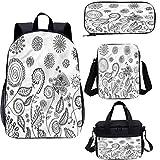 Conjunto de mochila escolar y bolsa de almuerzo floral de 17 pulgadas, juego de mochila 4 en 1